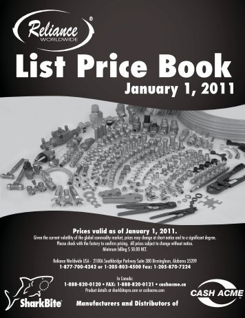 List Price Book Manufacturers and Distributors of ... - Cash Acme