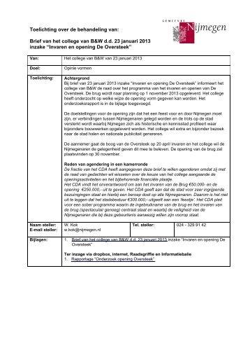 Brief d.d. 23 januari 2013 met bijlage - Gemeente Nijmegen