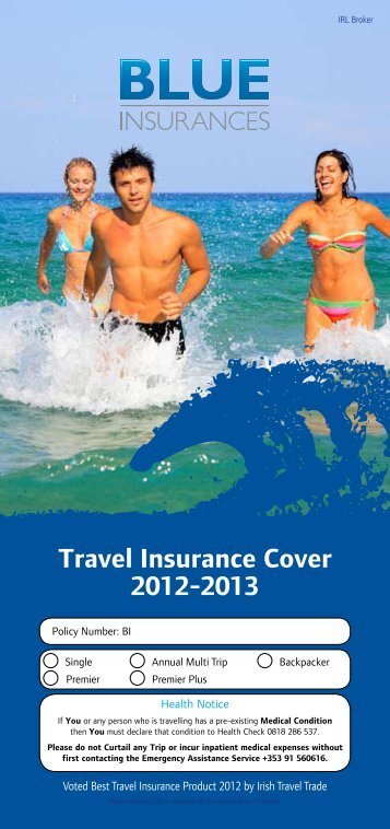 Travel Insurance Cover 2012-2013 - Blue Insurances