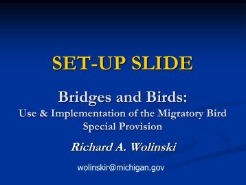 Use and Implementation of the Migratory Bird Special Provision ...