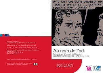 au nom de l'art-v10-web.pdf - Université Paris 1 Panthéon-Sorbonne