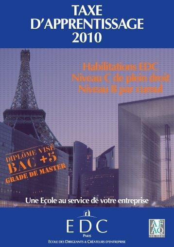 TAXE d'ApprEnTissAgE 2010 - Force EDC