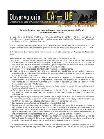 Boletin Observatorio CA-UE, año 4, N° 15, 12 de agosto de 2011