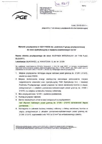 Warunki przyłączenia nr 5231110238 dla ... - PGE Dystrybucja