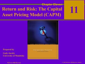 Return and Risk: The Capital Asset Pricing Model (CAPM)