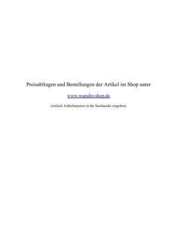 Preisabfragen und Bestellungen der Artikel im ... - Wapalto-heine.de