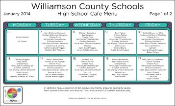 Lunch Menu - Williamson County Schools