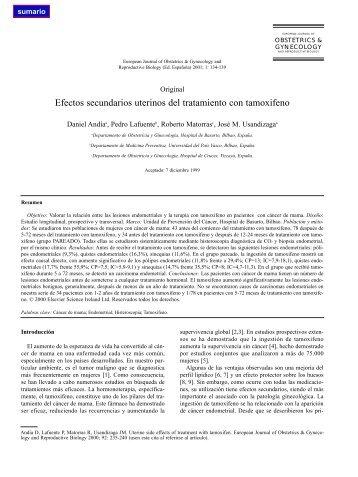 Efectos secundarios uterinos del tratamiento con tamoxifeno