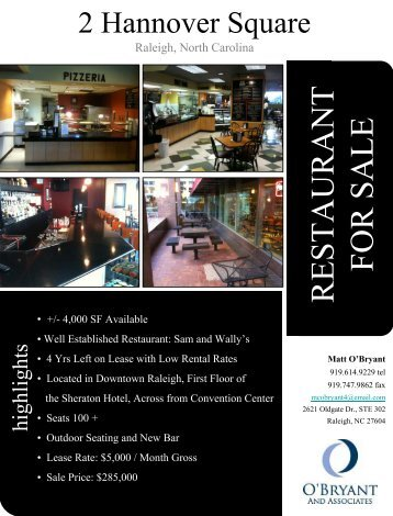 RESTAURANT FOR SALE - Downtown Raleigh Alliance
