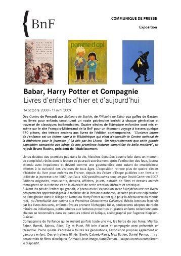 Babar, Harry Potter et compagnie - Exposition - La joie par les livres
