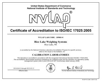 ISO/IEC 17025 Certificate of Accreditation and Scope - Rice Lake ...