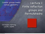 slides of the lectures - Coxeter Groups meet Convex Geometry ...