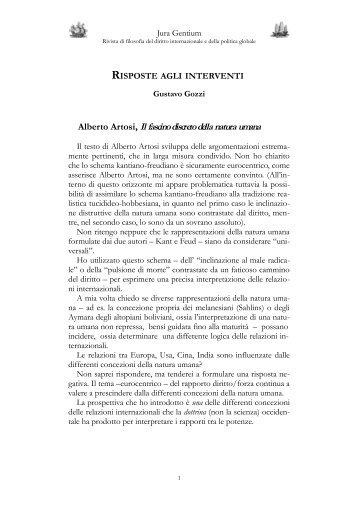 Risposte agli interventi - Jura Gentium