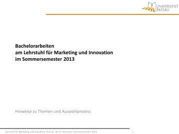 Bachelorarbeiten am Lehrstuhl für Marketing und Innovation im ...