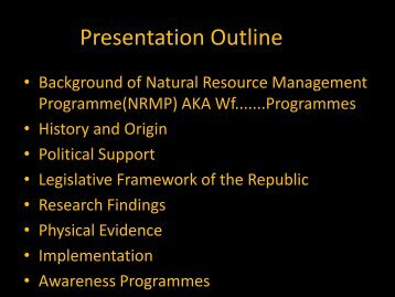 Natural Resources Management Programmes