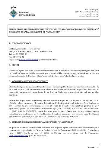 plec de clàusules administratives particulars per a la contractació de ...