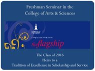 Freshman Seminar in the College of Arts & Sciences - COAS