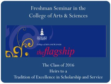 Freshman Seminar in the College of Arts & Sciences - COAS