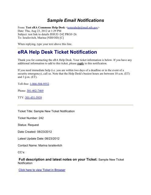 Help Desk Sample Email Notifications - 08/28/2012 - eRA