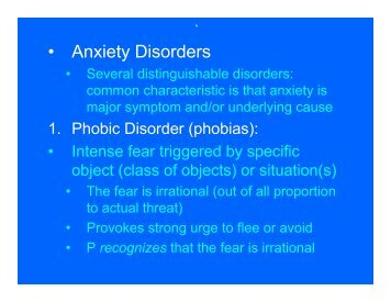 • Anxiety Disorders