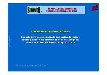 Presentación sobre la Aplicación en casos de accidentes ... - Sigweb