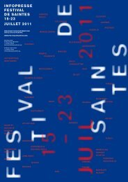 inFoPreSSe FeSTivAL De SAinTeS 15-23 juiLLeT ... - Radio France