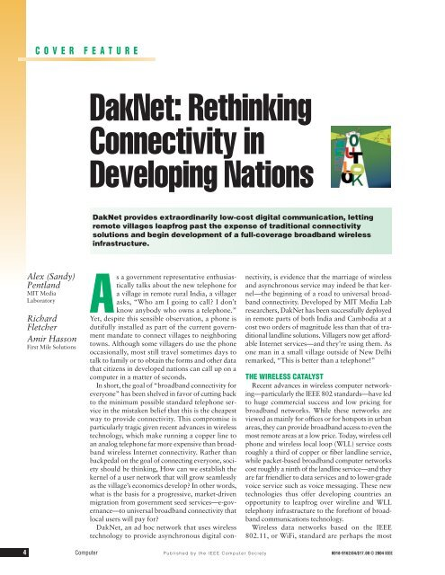 DakNet: Rethinking Connectivity in Developing Nations - First Mile ...