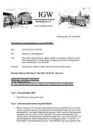 3. April 2007 - Protokoll der Vorstandssitzung - Weldergoven