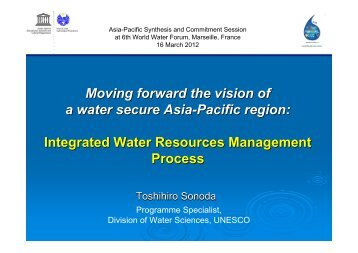 Moving forward the vision of a water secure Asia-Pacific region ...