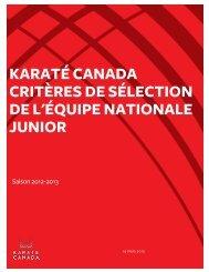 Critères - Karate Canada