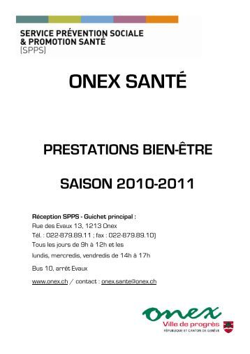 PRESTATIONS BIEN-ÊTRE DU SPPS SAISON 2010 - 2011 ... - Onex