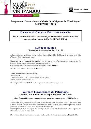Programme d'animations au Musée de la Vigne et du ... - Vins de Loire