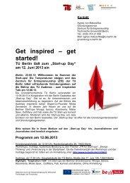 Start-up Day 2013 an der TU Berlin (PDF, 145,9 KB)