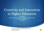 Creativity and Innovation in Higher Education