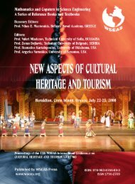 new aspects of cultural heritage and tourism - WSEAS
