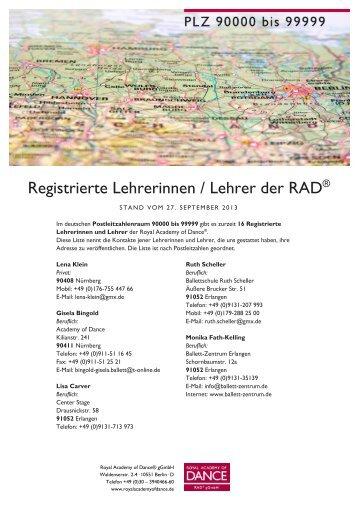 RAD gGmbH Registrierte Lehrer PLZ 90000-99999
