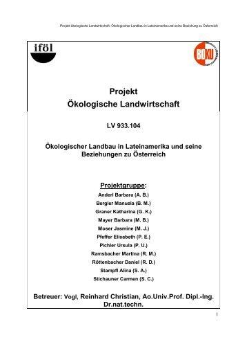 Projekt Ökologische Landwirtschaft - Institut für ökologischen ...