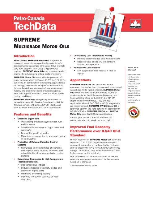 Tech Data Supreme Multigrade Motor Oils - Lubricants