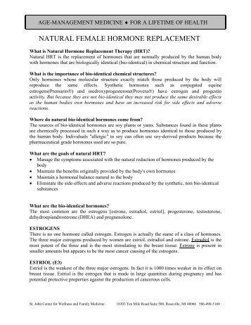 NATURAL FEMALE HORMONE REPLACEMENT - drpaz.com