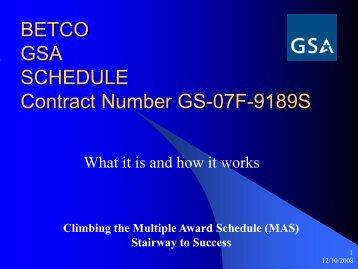BETCO GSA SCHEDULE Contract Number GS ... - Betco Corporation