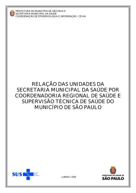 relação das unidades da secretaria municipal da saúde por ...