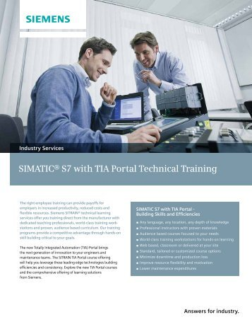 SIMATIC® S7 with TIA Portal Technical Training - Siemens Industry ...