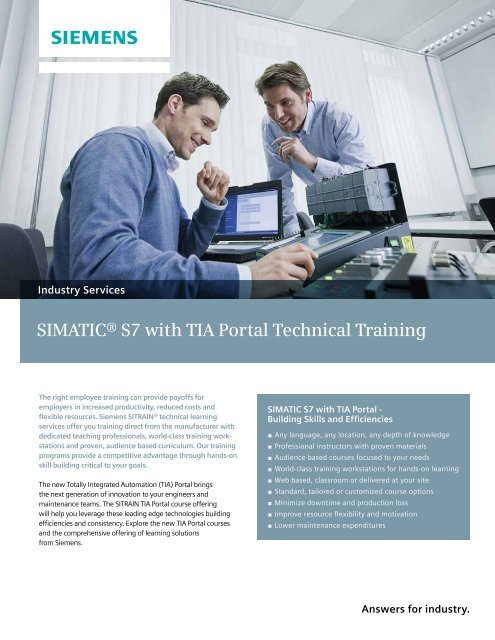 SIMATIC® S7 with TIA Portal Technical Training - Siemens