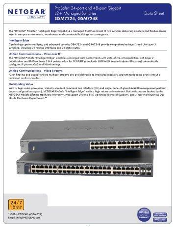 ProSafe® 24-port and 48-port Gigabit L2+ Managed Switches Data ...