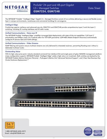 ProSafe® 24-port and 48-port Gigabit L2+ Managed Switches Data ...