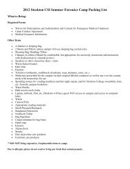 2012 Stockton CSI Summer Forensics Camp Packing List