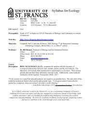 Syllabus for Ecology - University of St. Francis