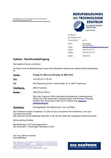 Asbest - Sachkundelehrgang - Berufsbildungs- und ...