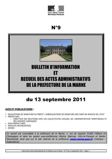 Recueil 9-2011 du 13 septembre - 18,00 Mb - Préfecture de la Marne