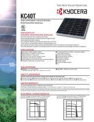 MODEL KC40T - KYOCERA Solar